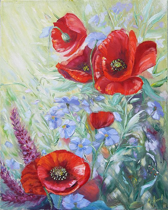 FORGET-ME-NOT by ELENA ANTAKOVA.   Belongs to the gallery RUSSIAN ARTISTS NEW WAVE.  Red Poppies and small blue flowers of Forget-Me-Not amongst the grass in the summer meadow, #RussianArtistsNewWave #ElenaAntakova #Painting #OriginalArtForSale #OriginalPainting #FloralArt #Flowers #Poppy #ArtForHome #Red #Blue #HomeDecor #Flowers