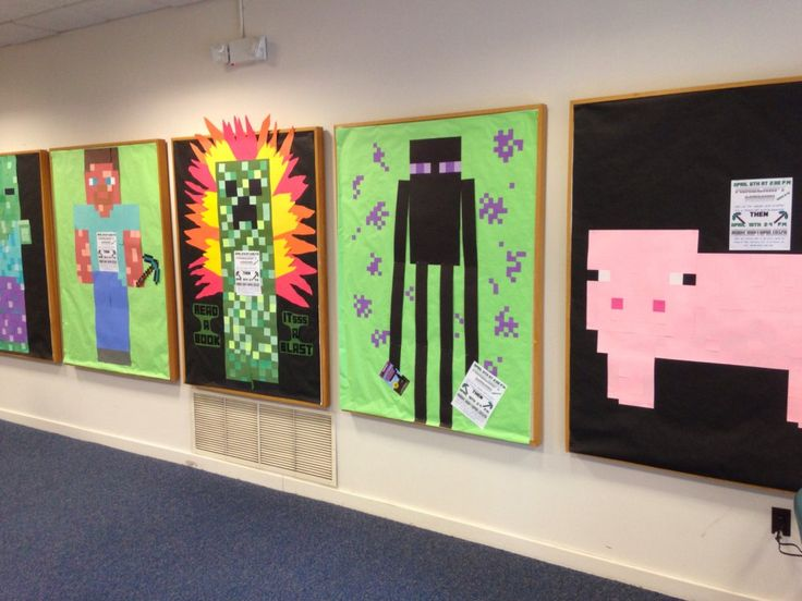 Minecraft Bulletin Boards and displays: The Librarian is on the Loose