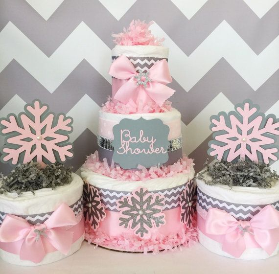 Pink and Gray Winter Wonderland Baby Shower Diaper Cakes by AllDiaperCakes