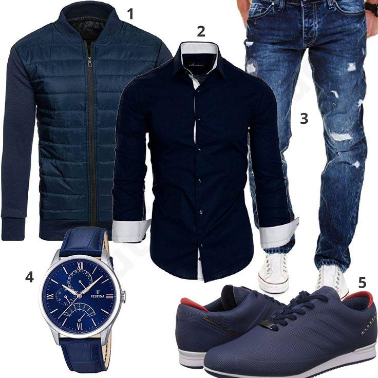 Dunkelblauer Herren-Style mit Amaci&Sons Hemd, blauer Merish Jeans, leichter Bolf Steppjacke, Adidas Porsche Design Sneakern und Festina Armbanduhr.