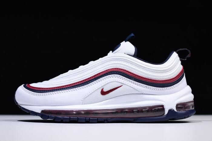 wholesale dealer 1933a 8e83c Nike Air Max 97 White Red Crush-Blackened Blue 921733-102 Free Shipping