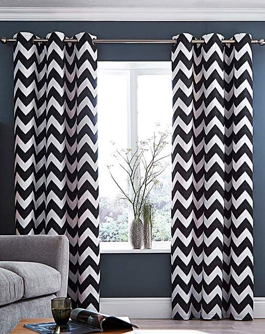 Zigzag Eyelet lined Curtains | J D Williams