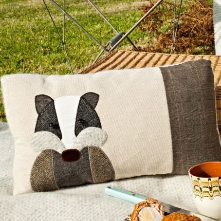 Handmade Badger cushion with linen and mixed tweed wools. £54.00