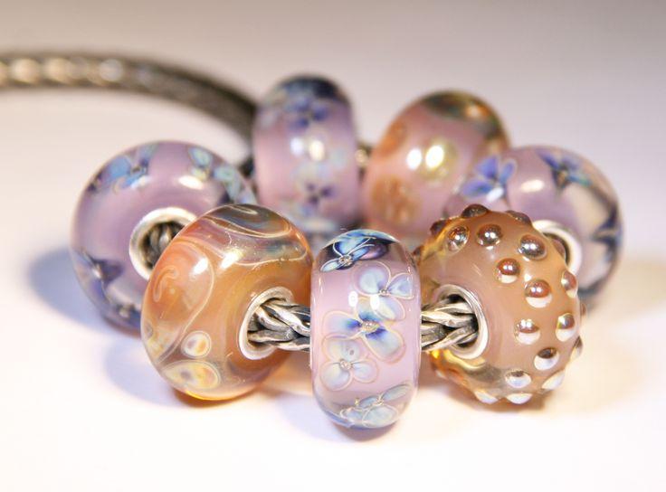 Artisan Lampwork beads for Trollbeads Anne Meiborg - Purple bead set www.annemeiborg.etsy.com