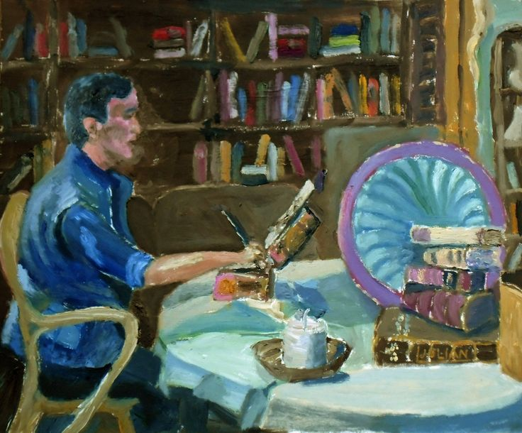 Painting 'Still Life in the studio' - An original oil painting of a fellow artist at work. Lovely Gift. by JulianLovegroveArt on Etsy
