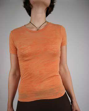 Alternative Apparel Womens Basic Burnout Crewneck T-Shirt, washed orange, Small