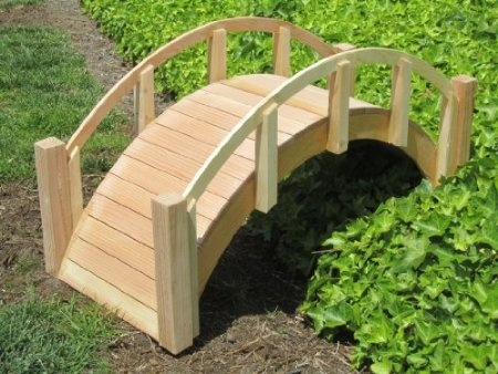 decorative japanese wood garden bridge with arched railings 30 12 long x