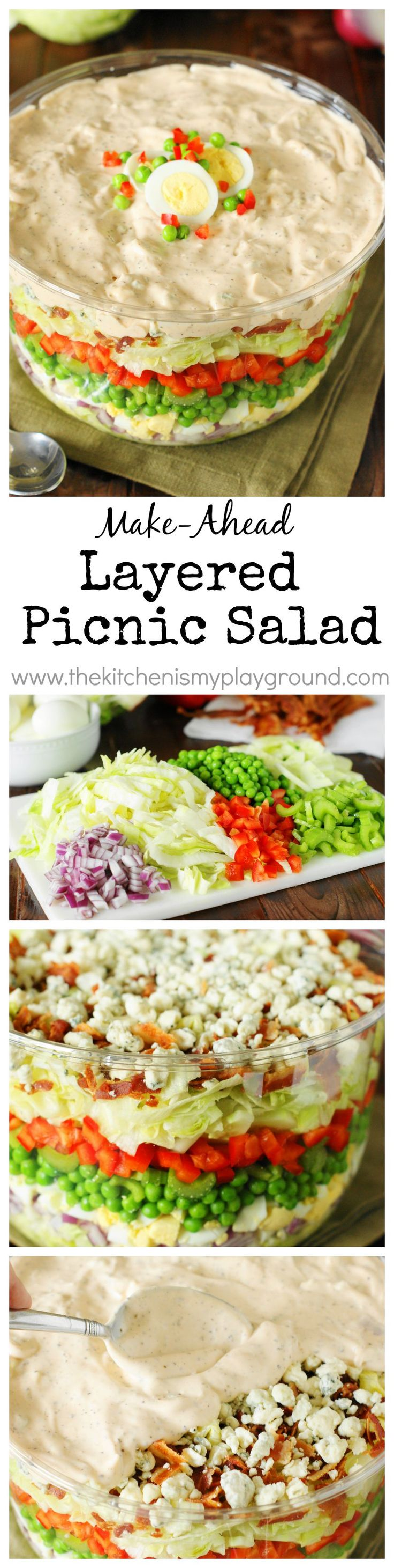 Make-Ahead Layered Picnic Salad ~ make-ahead convenience & fantastic flavors.  Perfect for backyard barbecues, potlucks, or the random Sunday get-together!   www.thekitchenismyplayground.com