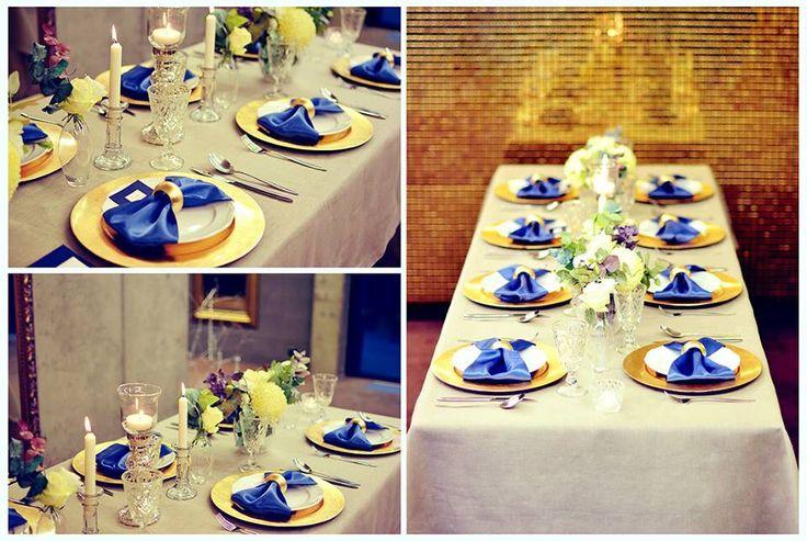 Gold & Navy wedding table