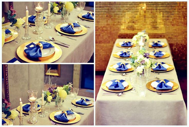 Gold & Navy wedding table