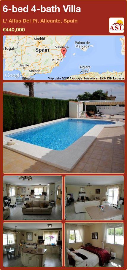 6-bed 4-bath Villa in L' Alfas Del Pi, Alicante, Spain ►€440,000 #PropertyForSaleInSpain