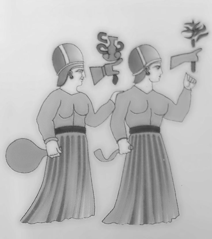 Kulitta (left) and Ninatta (right), Handmaidens of the God Sauska. Yazilikaya Hittite Sanctuary. Hattusa, Turkey. Figure from the Uranus Guide