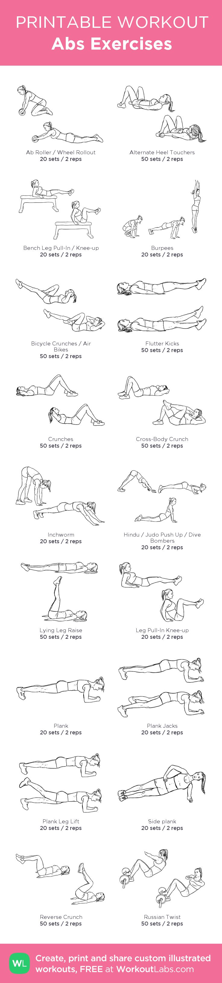 Abs Exercises: my custom printable workout by @WorkoutLabs #workoutlabs #customworkout