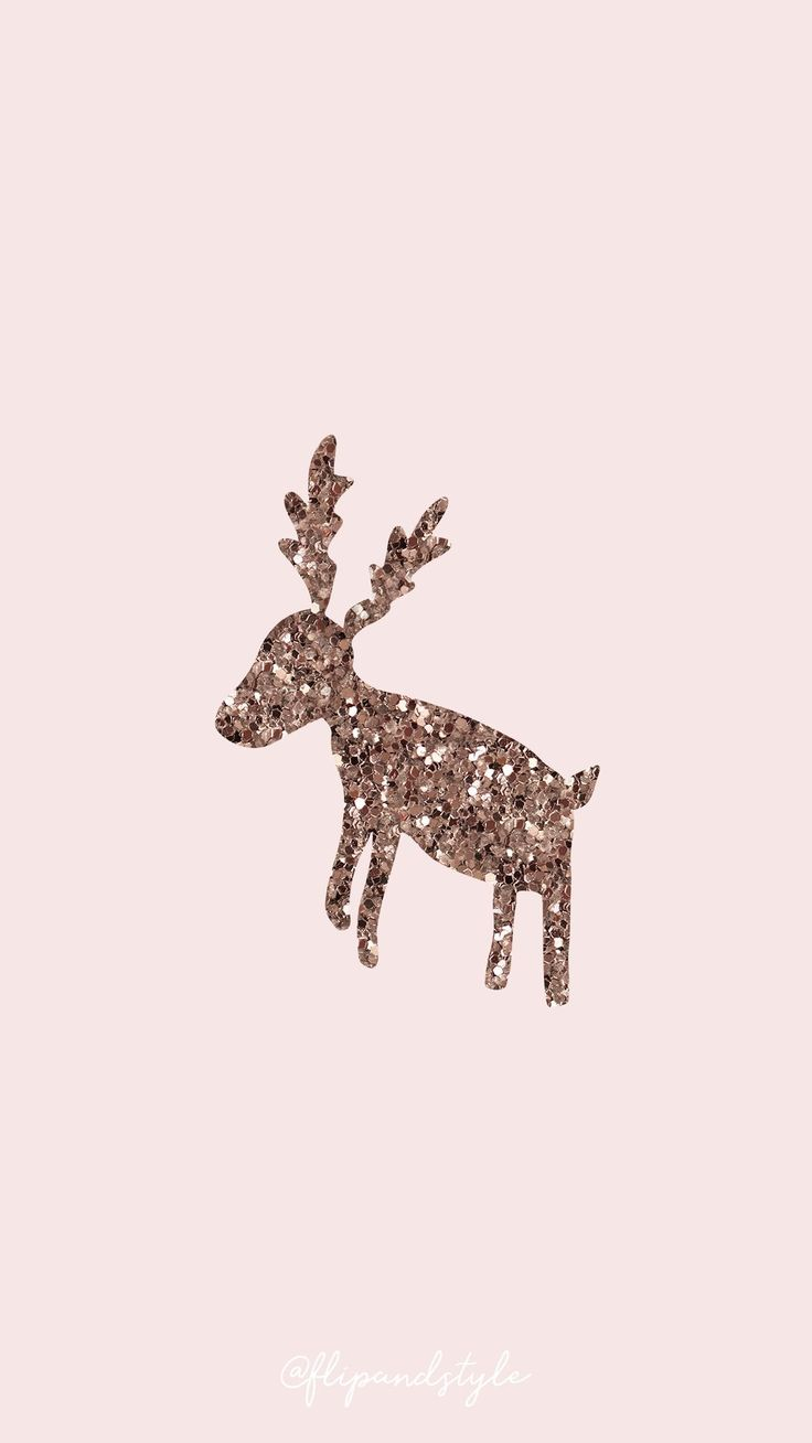 🦌 🎅 Wallpaper de noël – rose avec un renne …