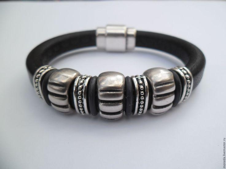 Купить Мужской браслет REGALIZ - черный, мужской браслет из кожи, купить браслет в украине