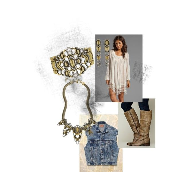 """""""Dress up your favorite fall festival outfit with some Chloe+Isabel bling!!! #chloeandisabel #freepeople #fall #festival #bling #vintage #deco #beautiful"""" by liz0709 on Polyvore"""