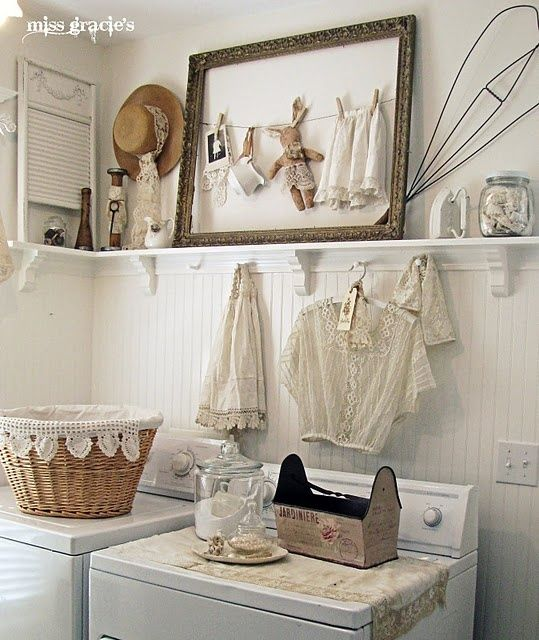 I would never want to leave my laundry room again if it looked like this! http://missgracieshouse.blogspot.com/2011/04/why-do-we-love-white.html