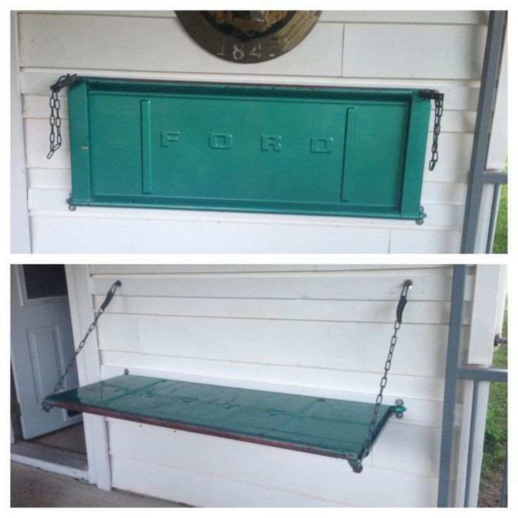 Such a cool idea! Tailgate bench!  Ryan's dad made this!
