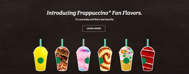 They�re actually based on fan favorites from the �secret menu� of flavor combos customers have cooked up. | Starbucks' Six Crazy New Frappuccino Flavors Include Red Velvet Cake And Cotton Candy