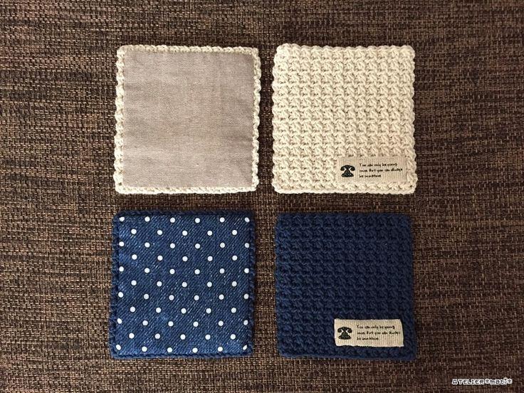 先日、ブログでご紹介したタグ&裏布付きのコースター、編み図書きました^^コースター自体は、細編みと鎖編みで編むので簡単に編めると思います。サイズ変更も、奇数目奇数段であれば何目何段でもOKなので、お好きなサイズで