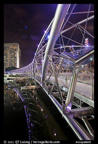 Double Helix Bridge at night. Singapore