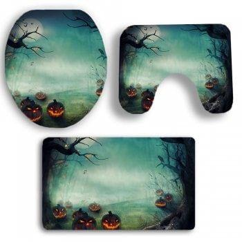 3Pcs Halloween Pumpkin Printed Bathroom Mats Set - GREEN