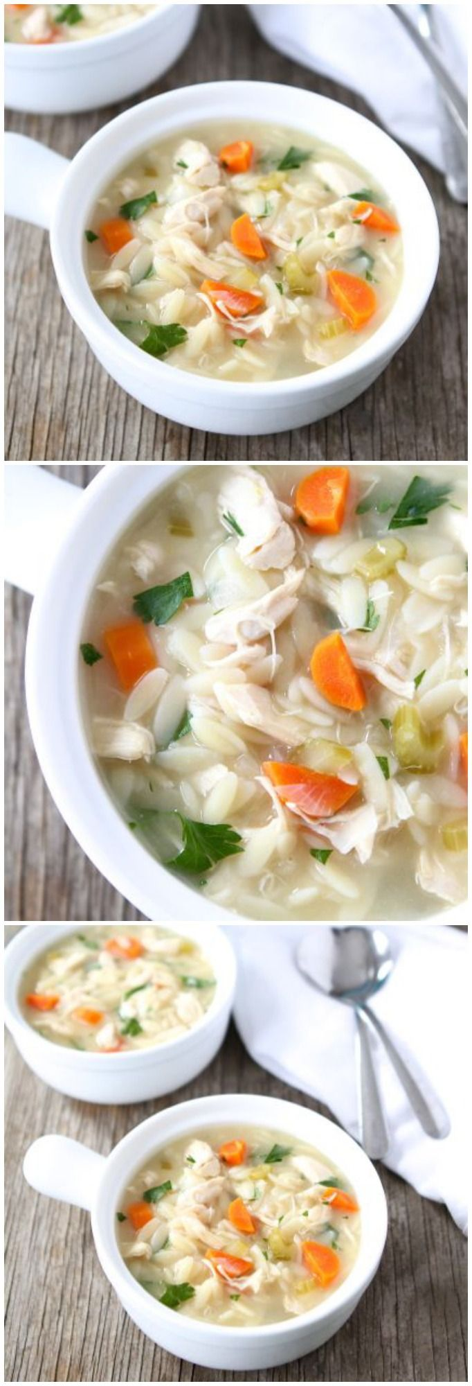 Lemon Chicken Orzo Soup Recipe on twopeasandtheirpod.com Love this healthy and comforting soup!