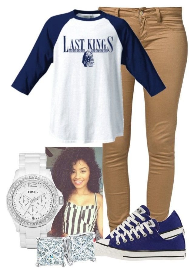 """""""Untitled #71"""" by ohhsnapkarissa ❤ liked on Polyvore featuring Monkee Genes, FOSSIL, Converse and Zales"""