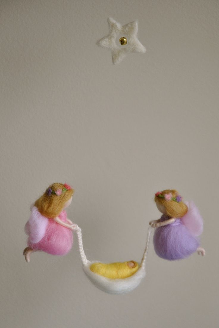 Baby Mobile Waldorf inspired needle felted: Fairies with Baby. $65.00, via Etsy.