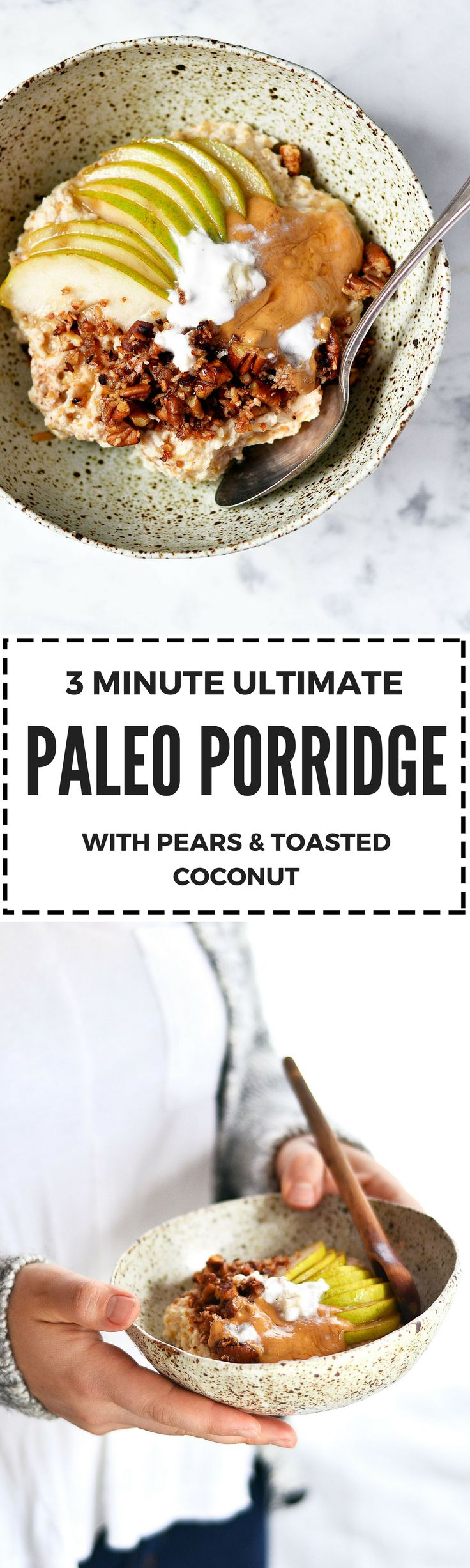 3 minute paleo porridge. Gluten Free, vegan, & grain free! Snuggle up with warm toasty coconut, almond essence, the deep flavors of cinnamon, & pear.