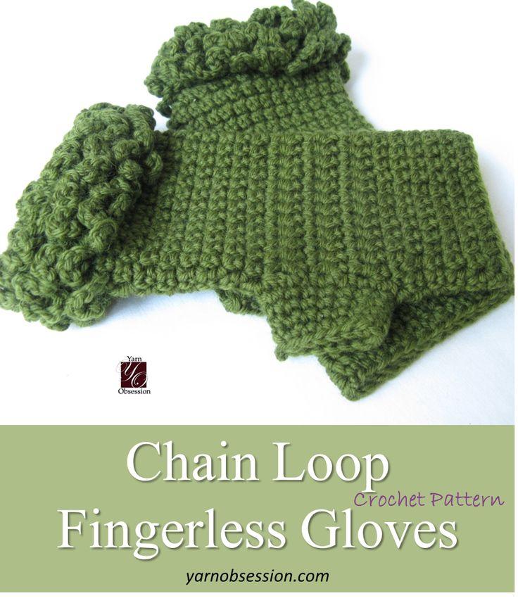 Free Crochet Pattern - Chain Loop Fingerless Gloves on Yarn Obsession