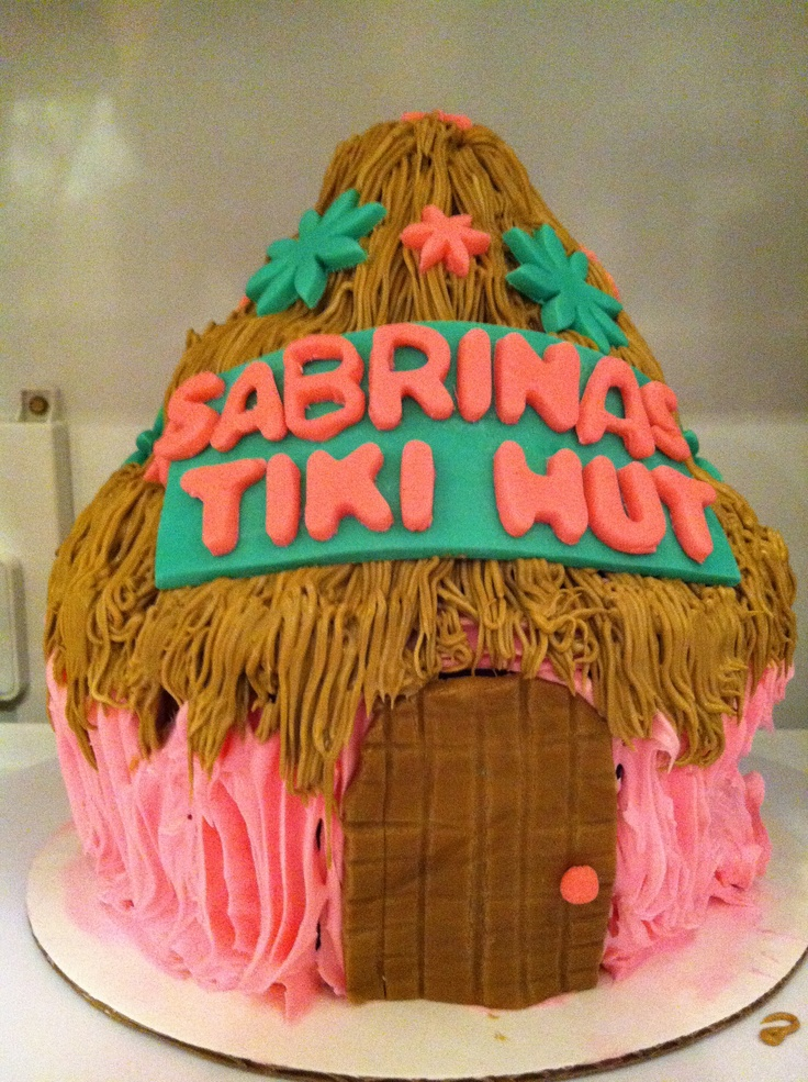 tiki hut for luau themed birthday!