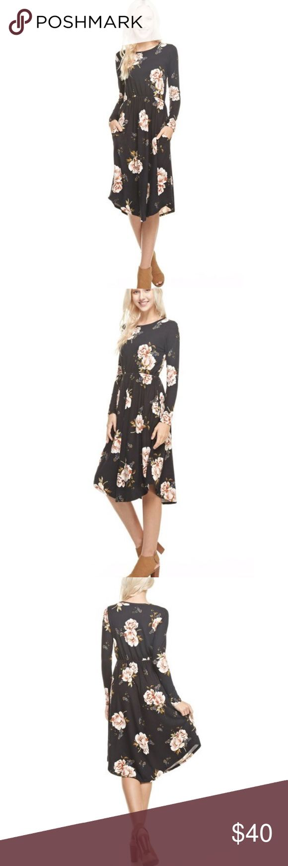 NEW! Black & Burgundy Floral Midi Pocket Dress Arrives This Week!!! Best Selling Dress Black & Burgundy Floral Midi Round Hem Pocket Dress. Fabric: 95% Poly & 5% Spandex. Made in USA. No Trades. Price is Firm Unless Bundled 2 Items 10% Off or 3 Items 15% Off.  ***Please Note This picture if for Black & Olive Floral, Black & Burgundy pictures are coming soon. GlamVault Dresses Midi