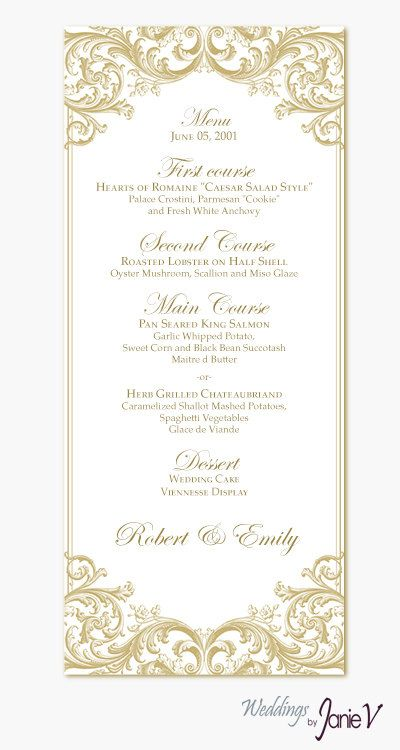 24 best Annie Rob Menus images on Pinterest Annie, Wedding - dinner party menu template