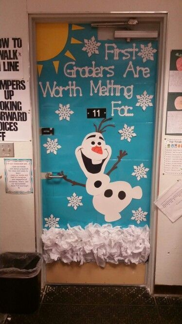 Do you want to build a snowman?! My first grade classroom door for winter! The kids are going to lose their minds when they see this. #frozen #olaf #doordeco