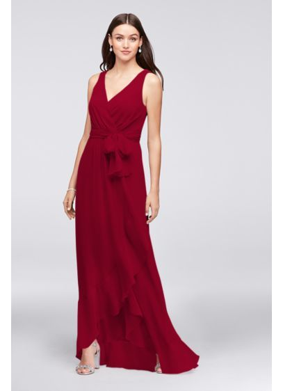 7b7f793e9fe Chiffon Ruffle-Trim Faux-Wrap Bridesmaid Dress 4XLF19748