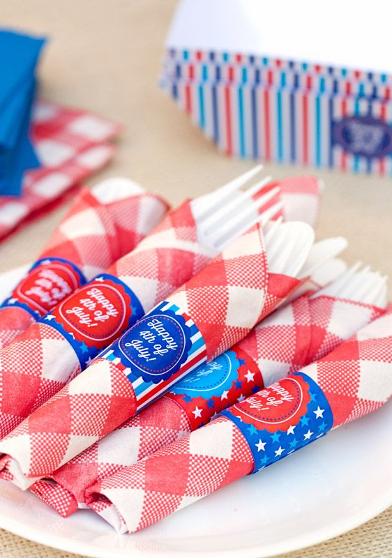 DIY Fourth of July Napkin Wrappers - Free Printable Download