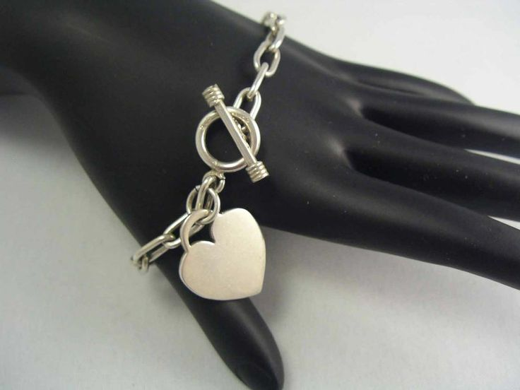 Vintage Sterling Silver 925 Chain Link Toggle Bracelet & HEART CHARM ~ 18.1 gram #Chain