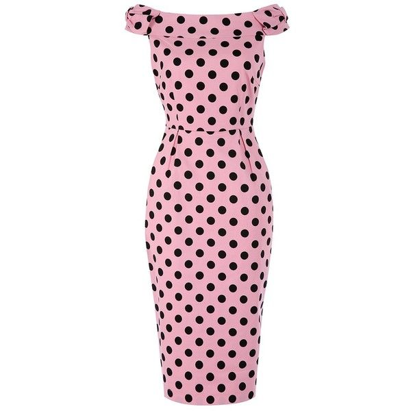 'Tabby' Pink Polka Dot Off Shoulder Wiggle Dress ($60) ❤ liked on Polyvore featuring plus size women's fashion, plus size clothing, plus size dresses, dresses, pink, bow dress, wiggle dress, pink midi dress, off the shoulder midi dress and tulip dress