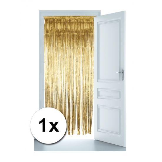 Gouden deur gordijn om ook de deur van het feest te versieren. Glinsterende gouden deur gordijn voor een flitsende party! Het formaat van deze deurversiering is 244 x 91 cm. Deze gouden versiering is niet brandvertragend. Voor een complete versiering in de kleur goud vindt u alle gouden feestartikelen in deze winkel.