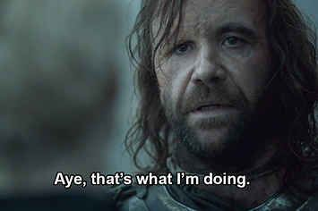 He is the true hero of the whole story, and I don't care what anyone says, he's the best man on the show. Never once did he waiver from his convictions and has saved more Starks than anyone else ever has. <3 the Hound forever!