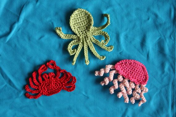 Sea Creatures Applique PATTERN by CuteCapes on Etsy, $5.09