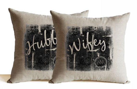 Hubby Wifey Throw Pillow Set Cushion Personalized by AmoreBeaute