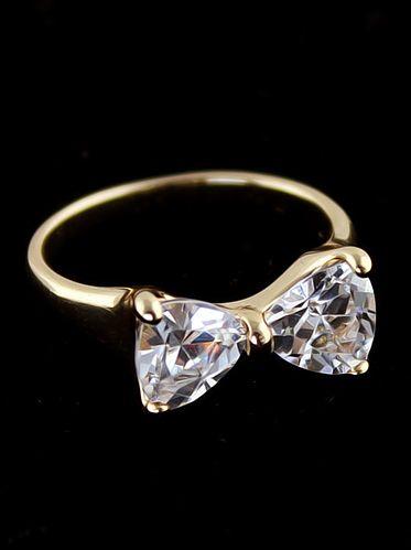 Gold Diamond Bow Ring - Sheinside.com