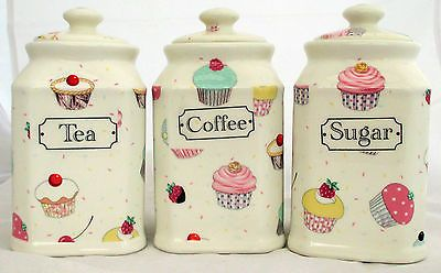 Small fairy cupcakes tea #coffee sugar canisters #cream #ceramic storage jars,  View more on the LINK: 	http://www.zeppy.io/product/gb/2/302008348701/