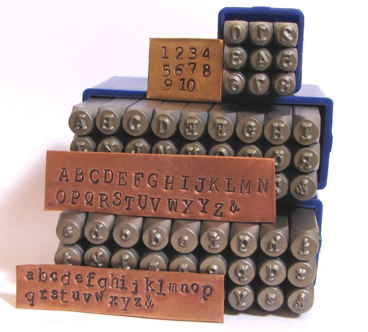 Typewriter 3 mm letters and numbers, Cambria font, News print font, both cases, metal stamping set, old type font, stamping letters