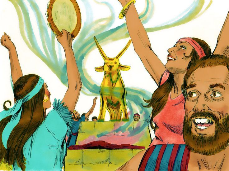 Early the next day, people sacrificed burnt offerings, ate, drank and started a wild, noisy party worshipping the golden calf. – Slide 7