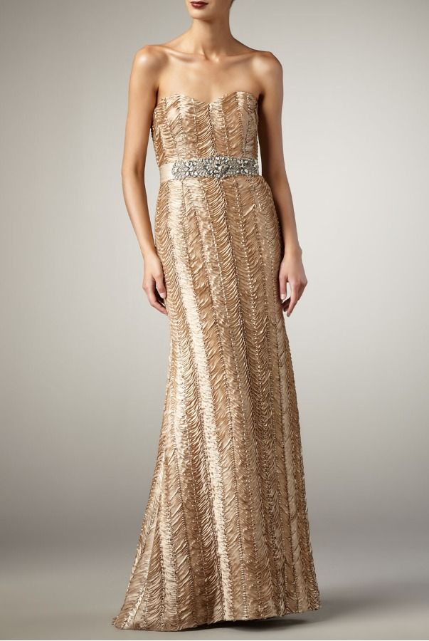 Perfect Badgley Mischka Fairy Silk Beautiful Belted Gown in Almond Color