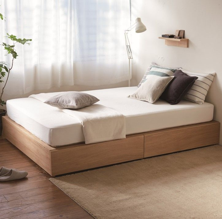 [HD]Oak Storage Bed Single Bed + Storage MUJI renewed its under-bed storage for a more efficient use of the room. The bed provides a larger storage space by adopting a structural design in which the mattress is supported by the storage boxes themselves.