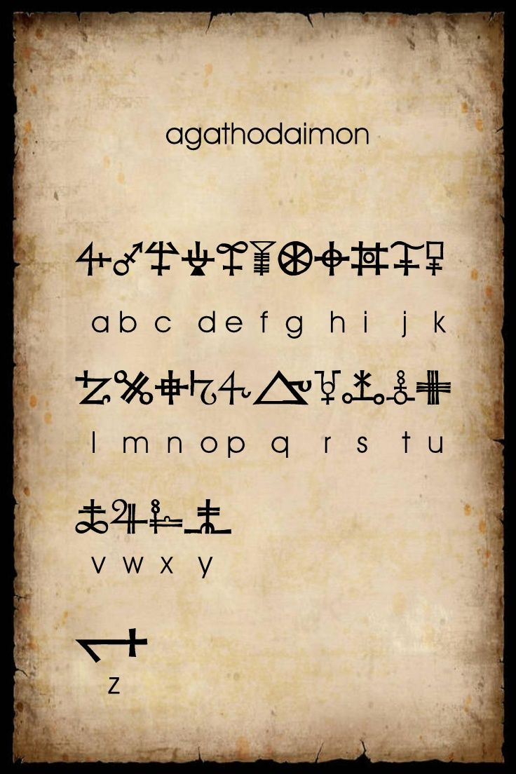 Alchemical symbols arranged with alphabetical correspondences. This is available as a free True Font download for your PC at dafont.com.  The font is called Agathodaimon - type that in the search box at the site, Another excellent set of characters for secret writing in a Book of Shadows.